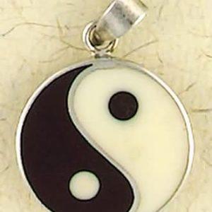 Sterling Silver Enamel Yin Yang Pendant