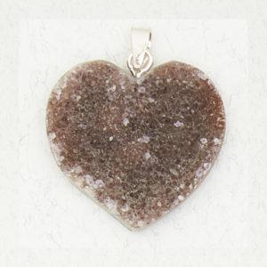 Agate Druze Heart Pendant
