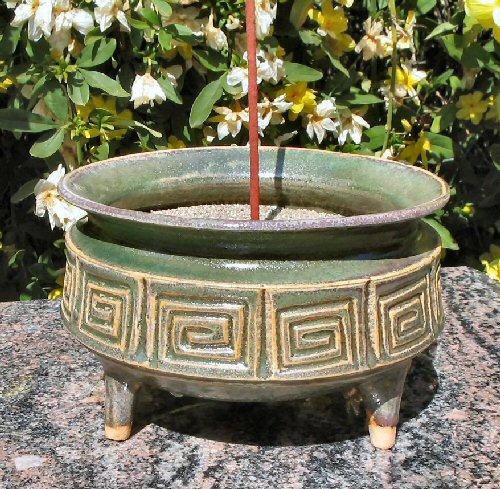 Spiral Ceramic Smudge Bowl Gold Jade